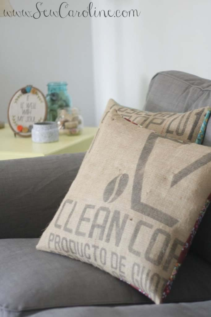 Coffee sack pillow