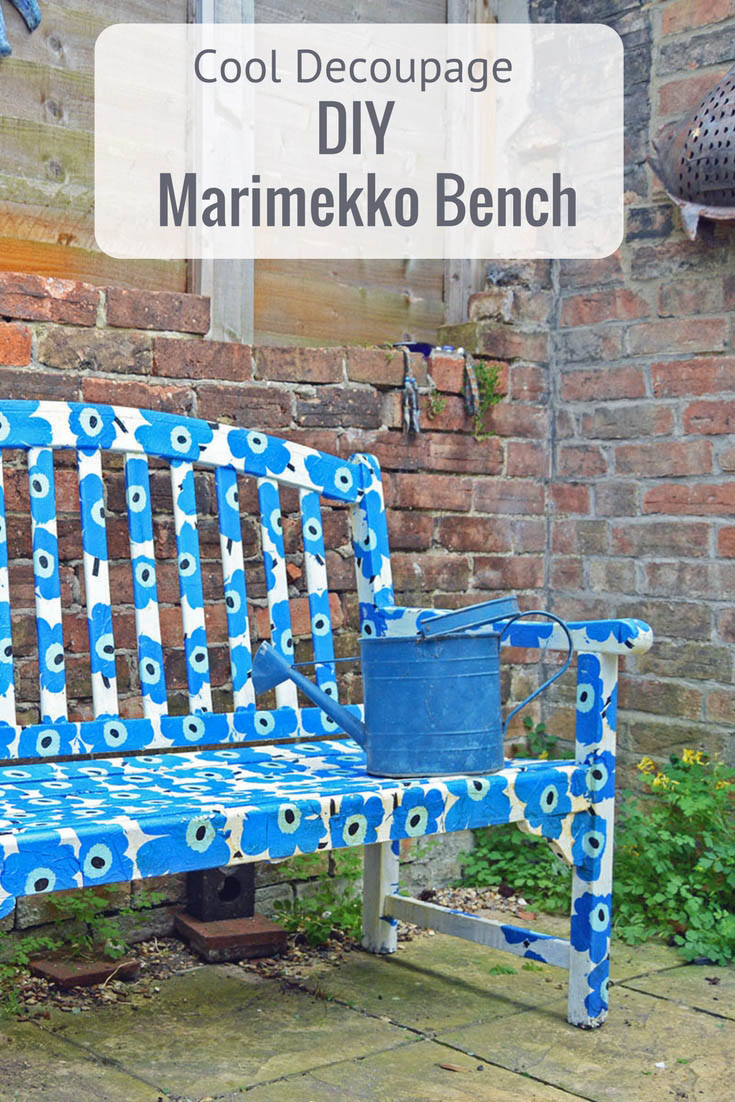 Instead of upcycling an old garden bench with paint how about transforming it with paper napkin decoupage to create a unique Marimekko bench. It can be made waterproof to stay outside all year round.
