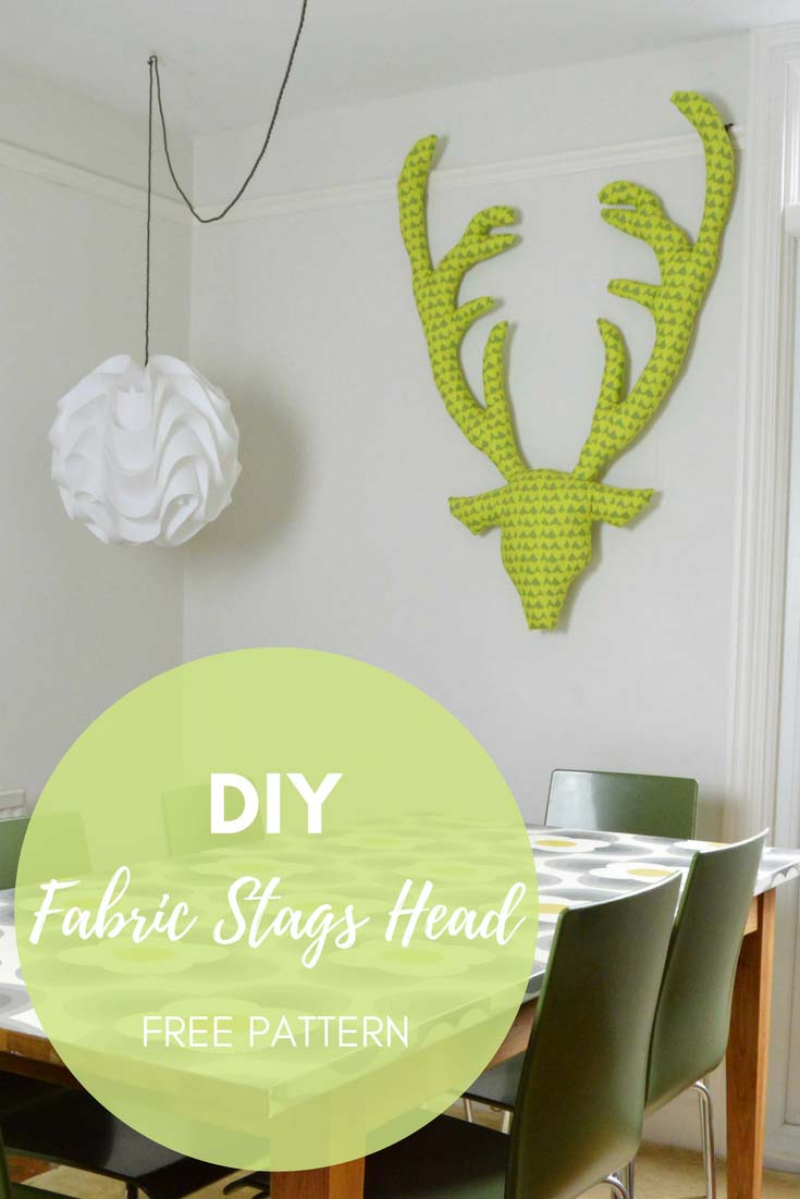 A step by step tutorial and free pattern to make a fabulous fabric Stags head for a unique wall decoration. They also make a great Christmas gift.