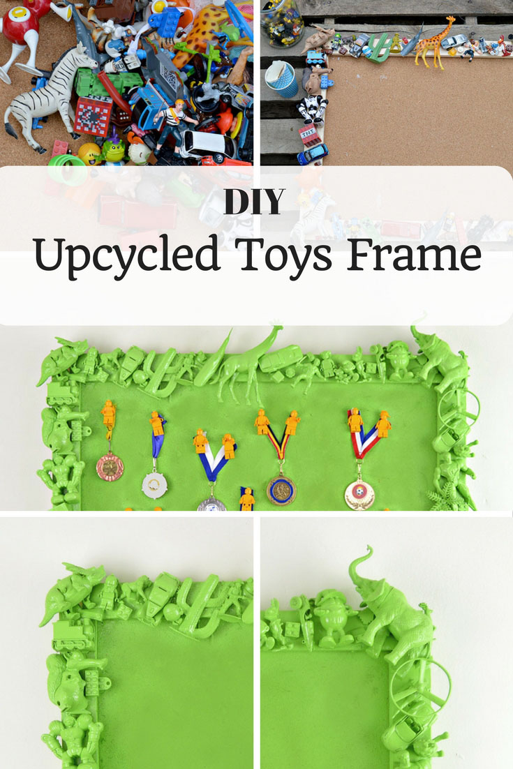 how to make an upcycled toys frame pillar box blue