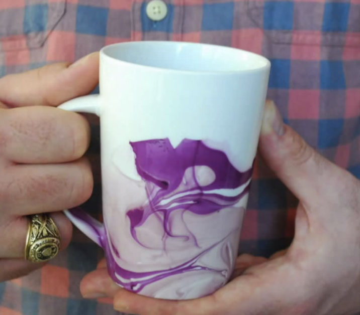 DIY watercolour coffee mug
