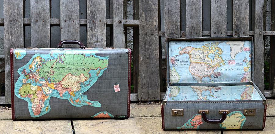 Amazing vintage suitcases - Vintage Map Suitcase
