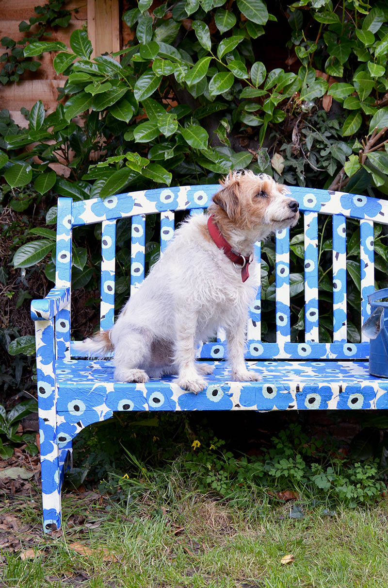 Upcycle an old bench with decoupage.  This Marimekko bench was achieved by