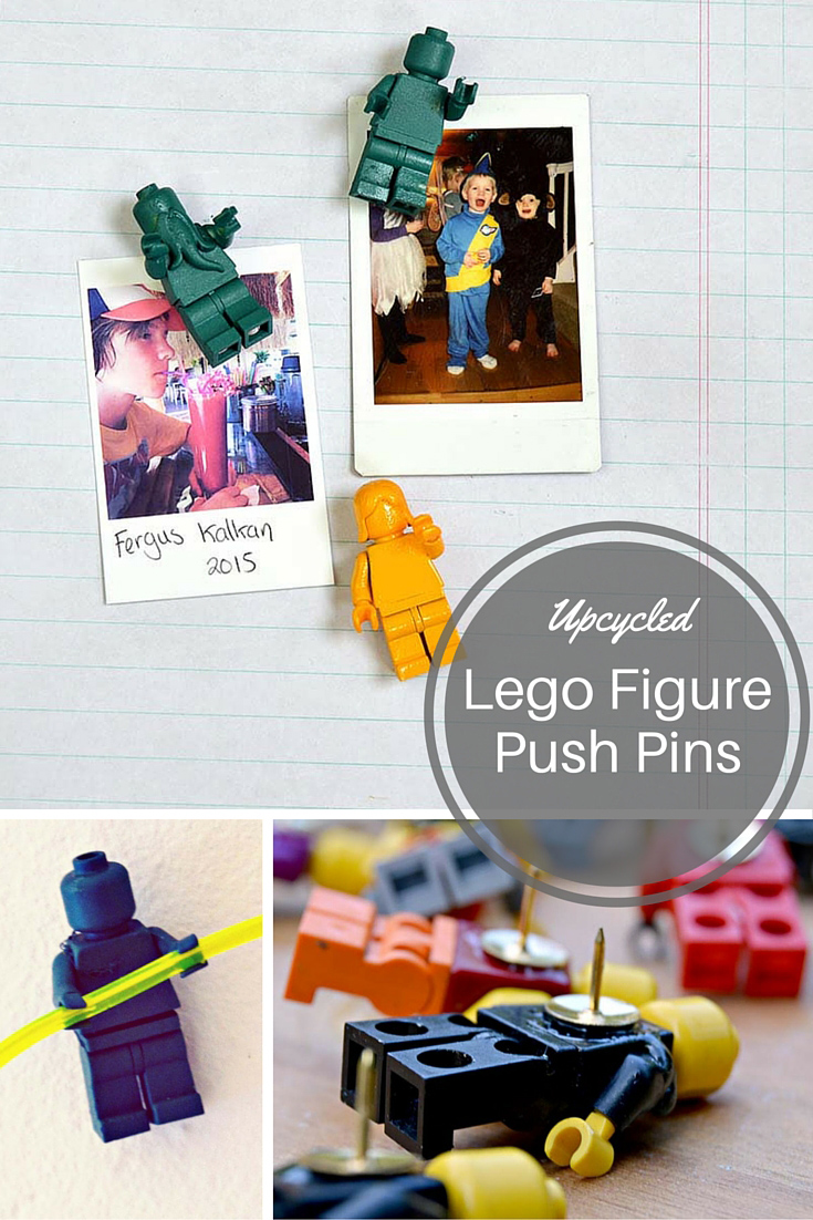 Upcycled Lego Figure push pins.  Not only do they look fun, but have the special handy feature where the hands can hold wire and string.