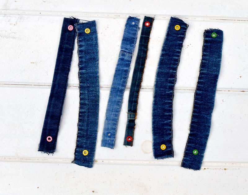 Denim straps for craft caddy