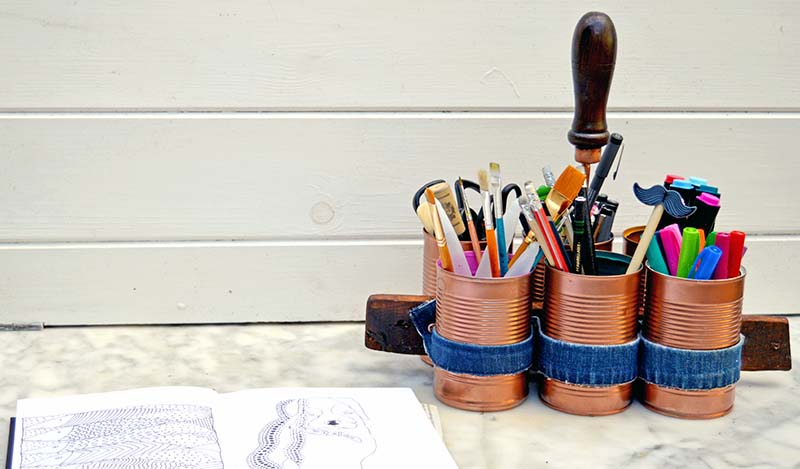 Stylish Copper and Denim Craft Caddy