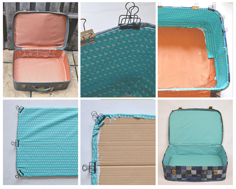 Lining denim suitcase tutorial