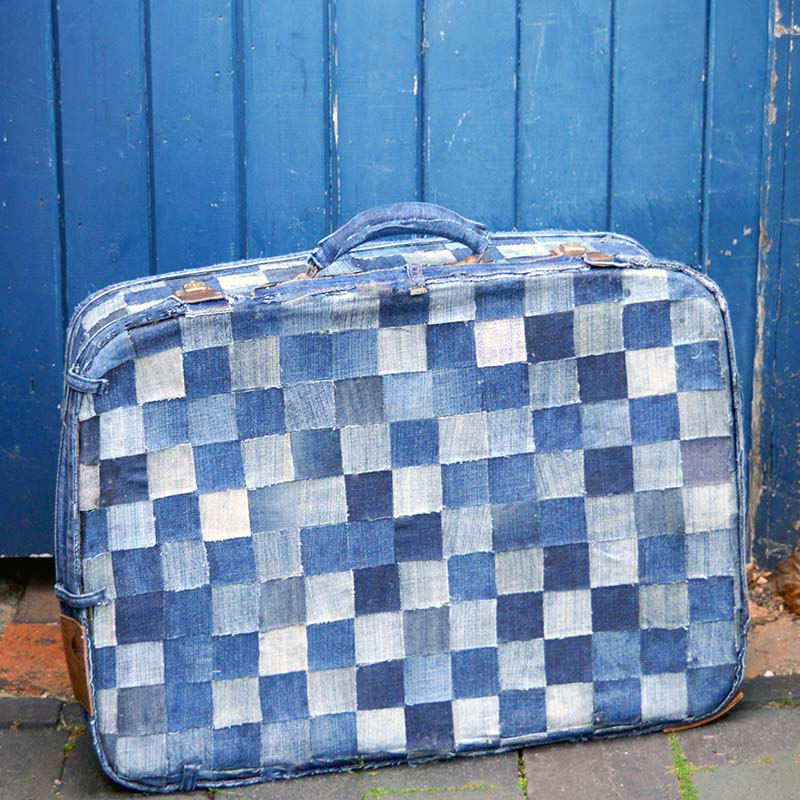 No Sew patchwork denim suitcase tutorial