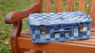Upcycled Patchwork Denim Suitcase - No Sew tutorial