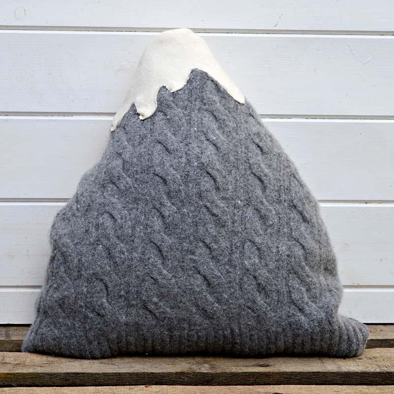 Upcycled sweater cushion