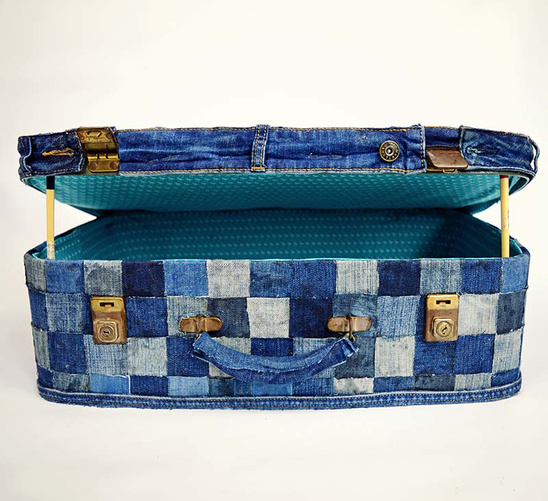 Patchwork Denim Suitcase - No Sew Tutorial
