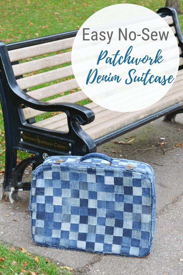 upcycled patchwork denim suitcase