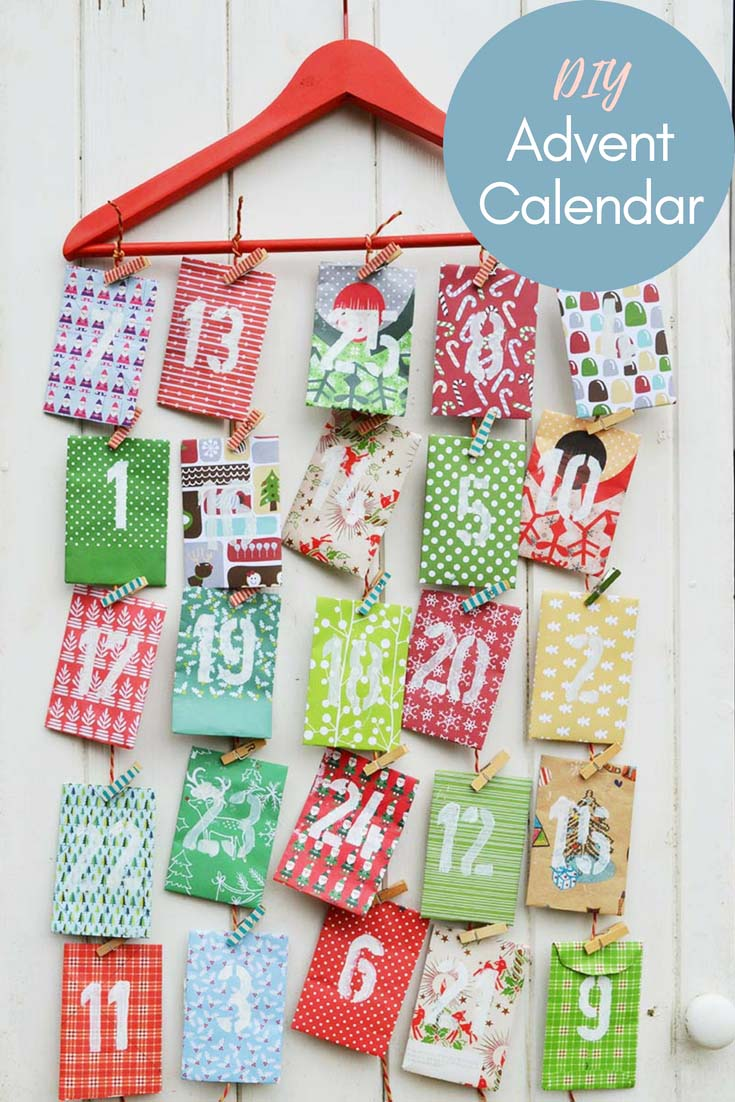 Free template to make a paper envelope advent calendar. Upcycle Christmas wrapping paper or use craft paper to make the envelopes and fill them with your own choice of treats and a daily Christmas joke for extra smiles.
