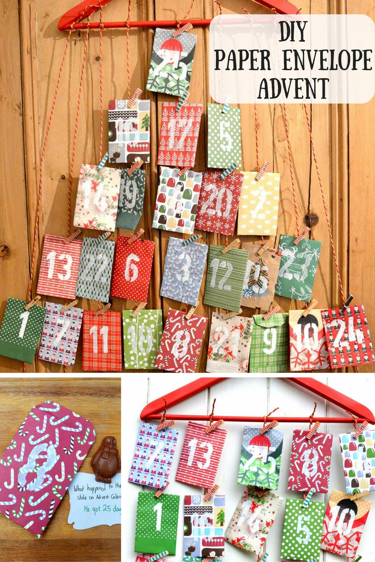 Make your paper envelope advent calendar.  Fill it with your own choice of treats and a daily Christmas joke for extra smiles.