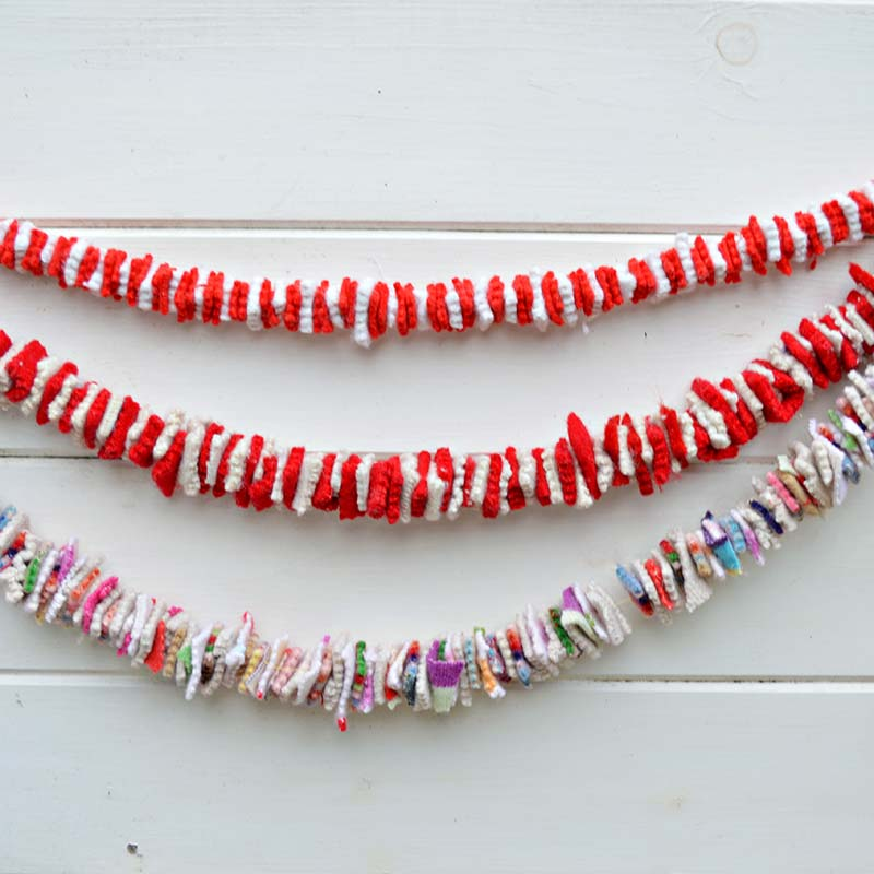 create garlands out of wood sweaters