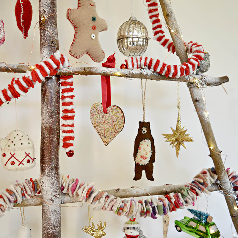 Make funky felt garlands to brighten up your Christmas decorations.