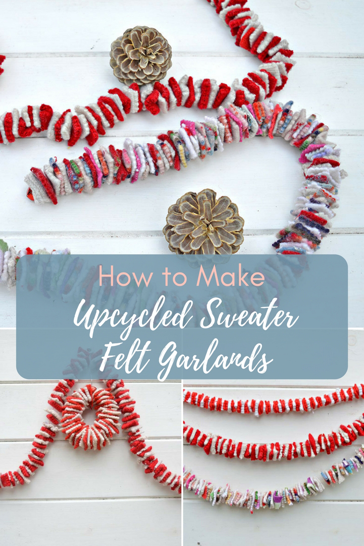 This is an addictive and easy upcycle, making a gorgeous felt garland recycling old sweaters. It can be used like Christmas tinsel or ribbon.