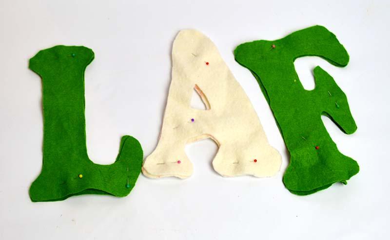 Pinned felt letters