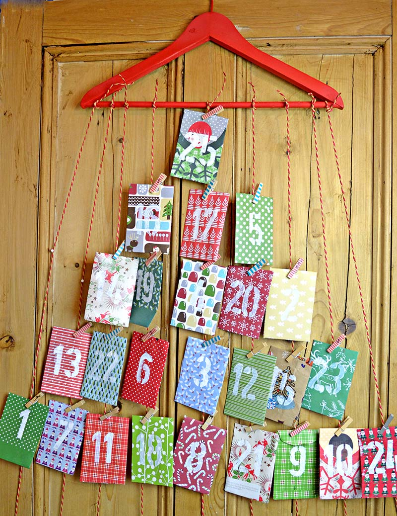 Homemade paper envelope advent calendar pillar box blue for Advent decoration ideas