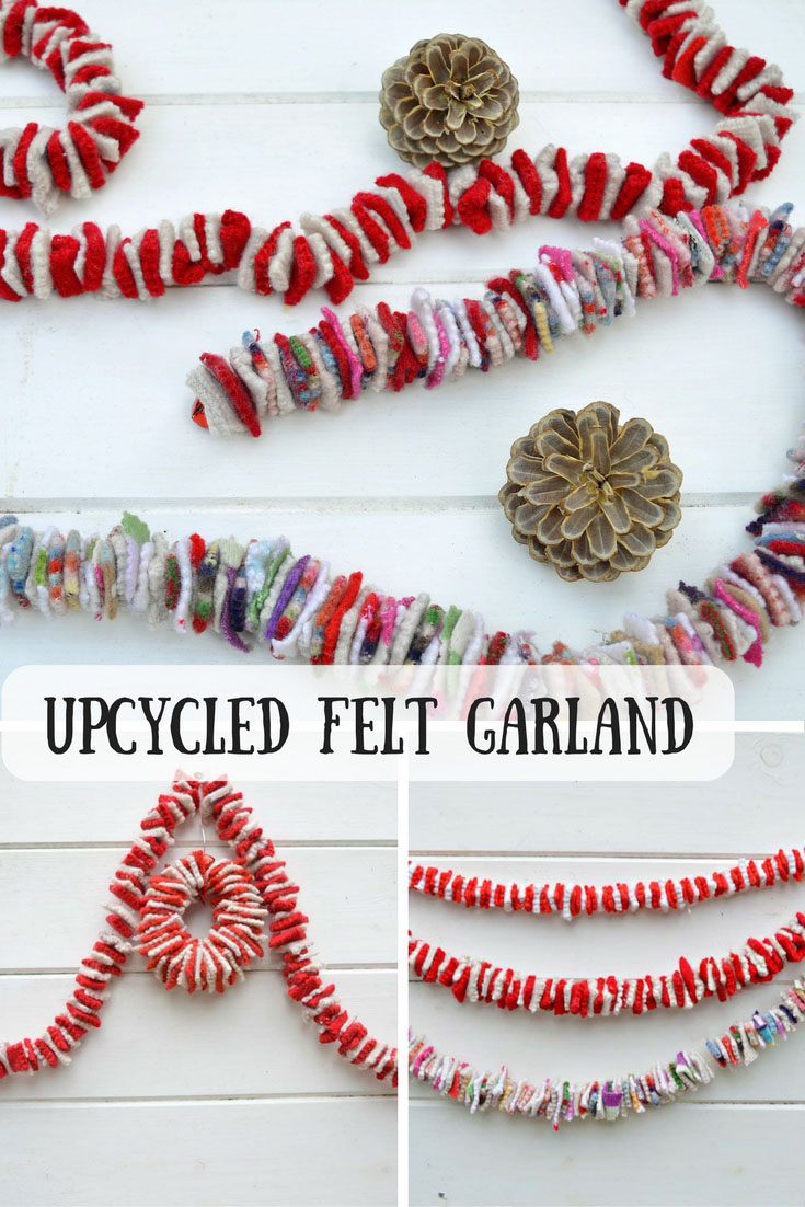 Felt your old sweaters to make some gorgeous festive upcycled felt garlands.