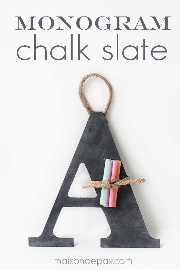 monogramed chalk slate