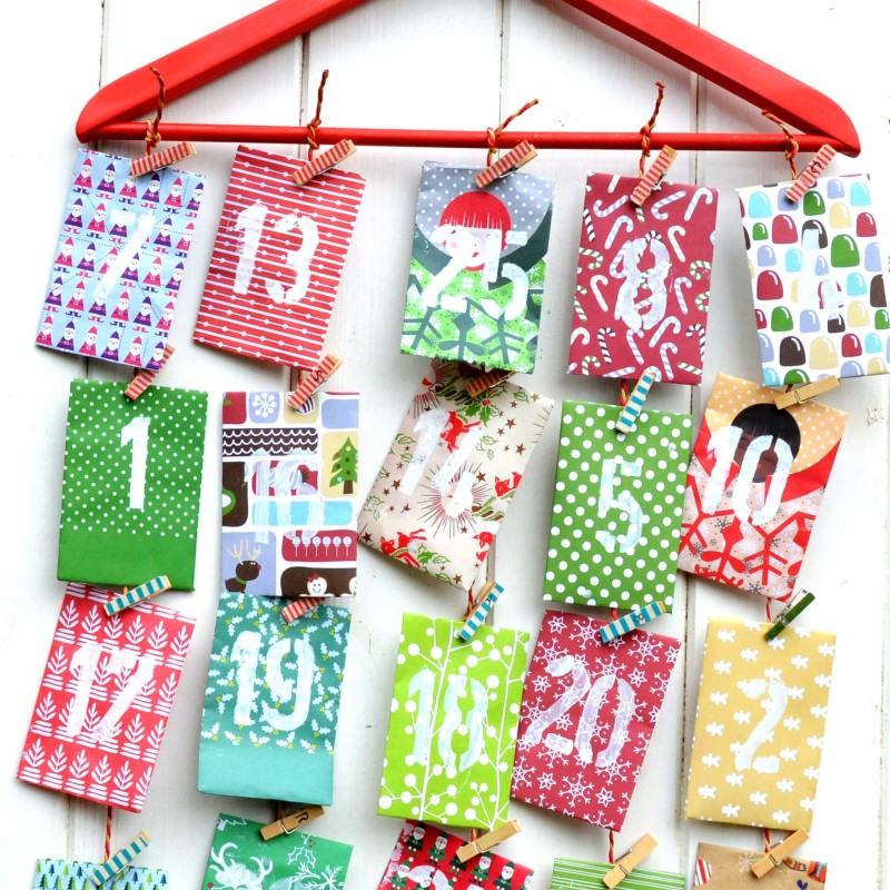 Advent Calendar Envelopes Ideas : Homemade paper envelope advent calendar pillar box blue
