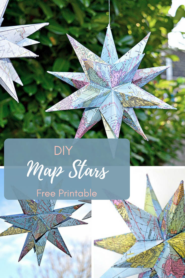 How to make gorgeous free printable map star decorations for 3d star decoration