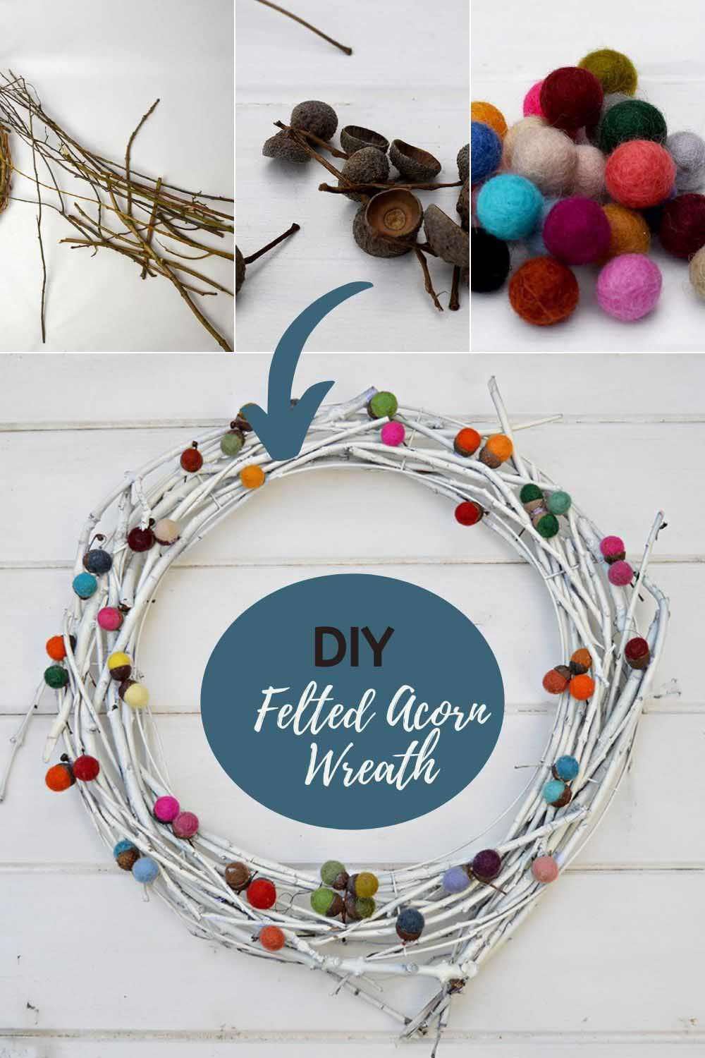 DIY felted acorn wreath