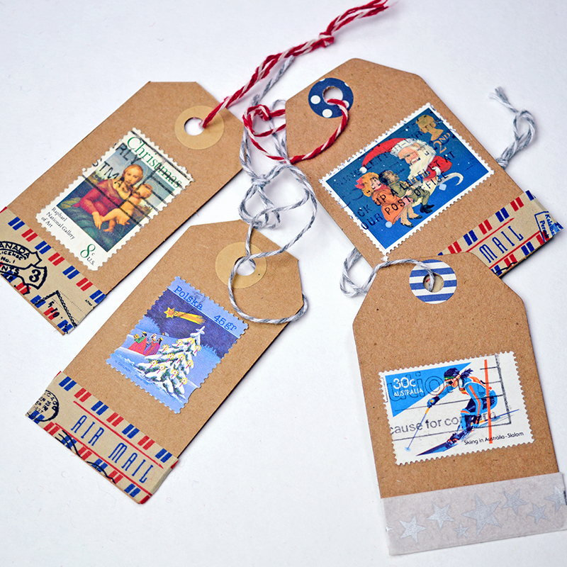 diy used postage stamp christmas tags