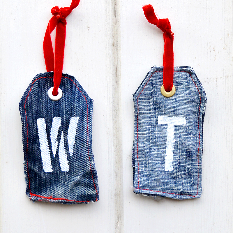 Upcycled denim gift tags