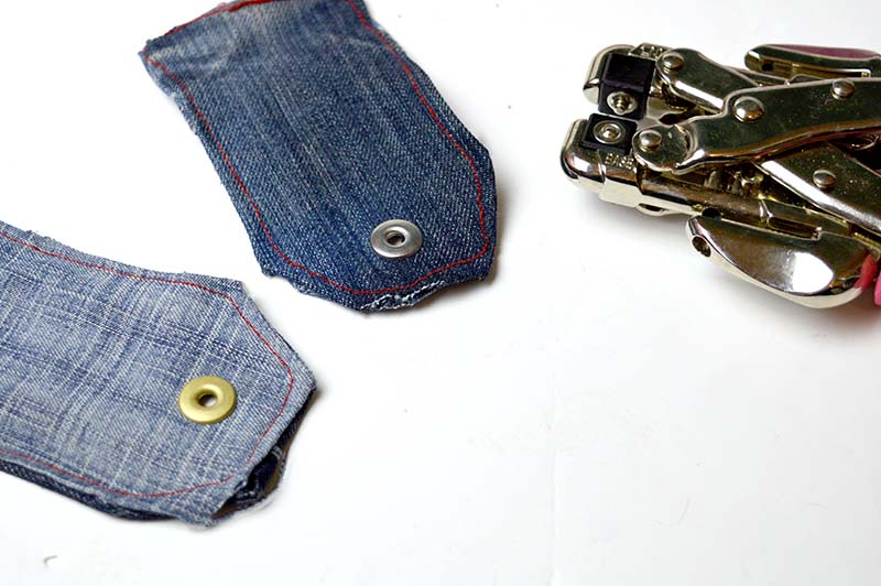 punching hole in denim