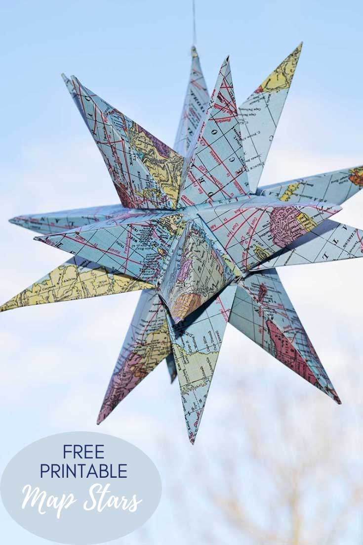 FREE PRINTABLE 3d maps star decoration