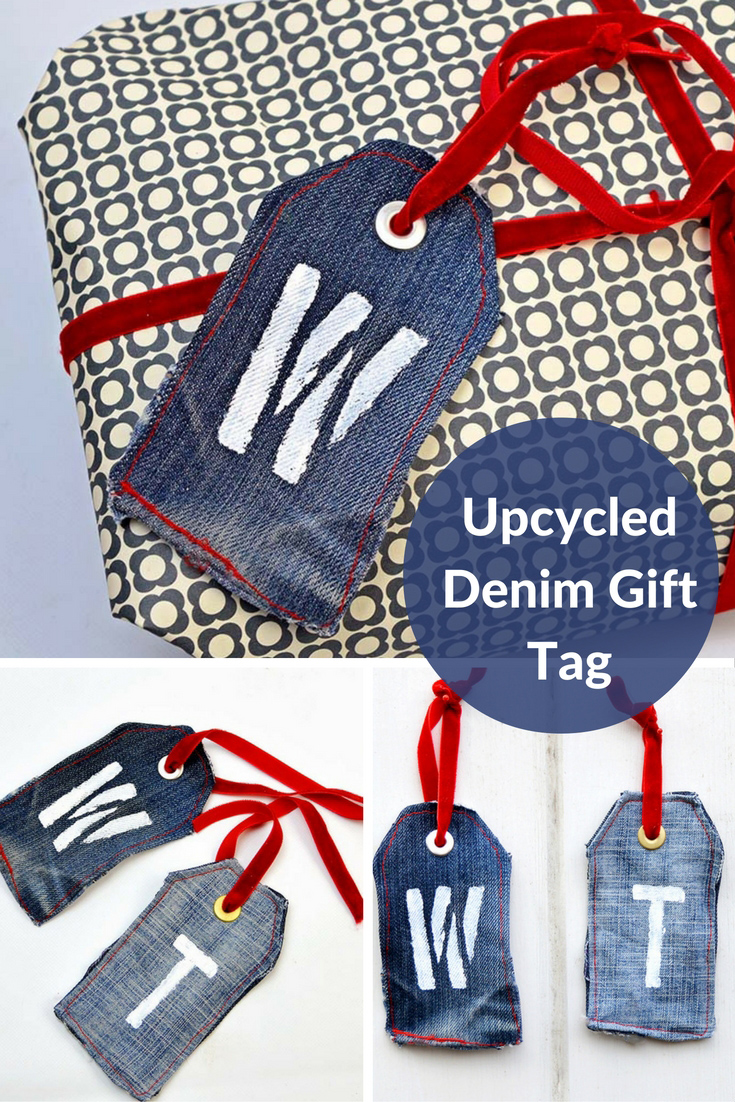 Upcycled Denim Gift tag- Made from old jeans they are a gift in themselves can be used as a bookmark or keychain.
