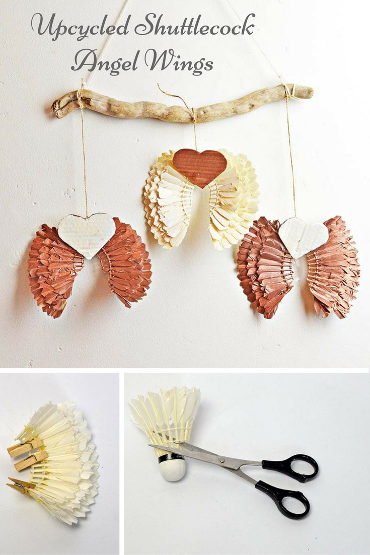 Upcycle some old feather badminton shuttlecocks (birdies) into some gorgeous Christmas decorations of Angel Wings.