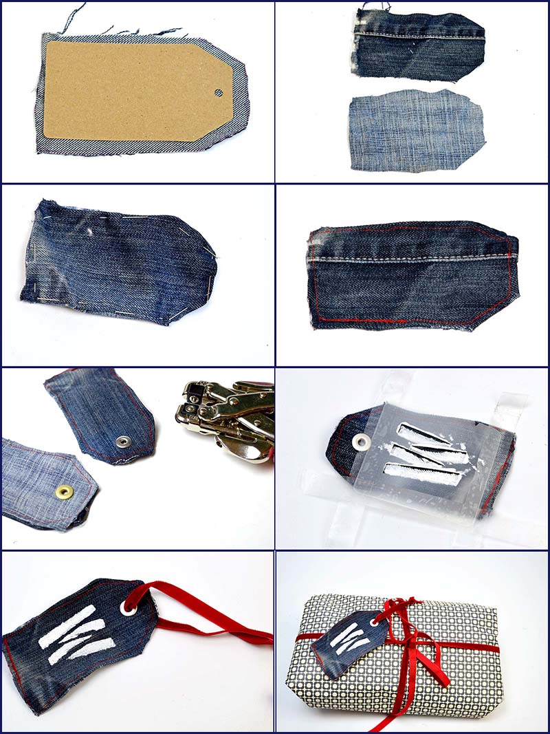 how to make a denim gift tag