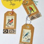 postage stamp christmas tags