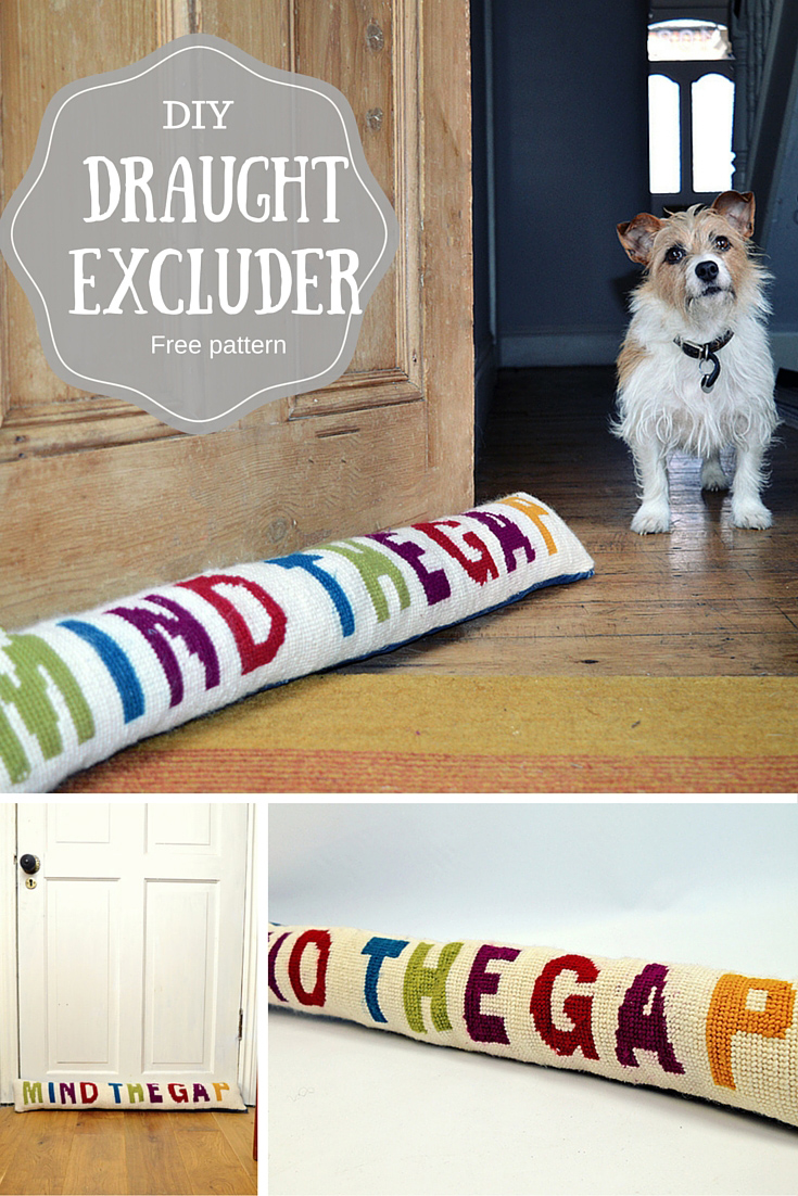 Make this funky diy draught excluder - includes free supersized cross stitch (needlepoint) pattern.