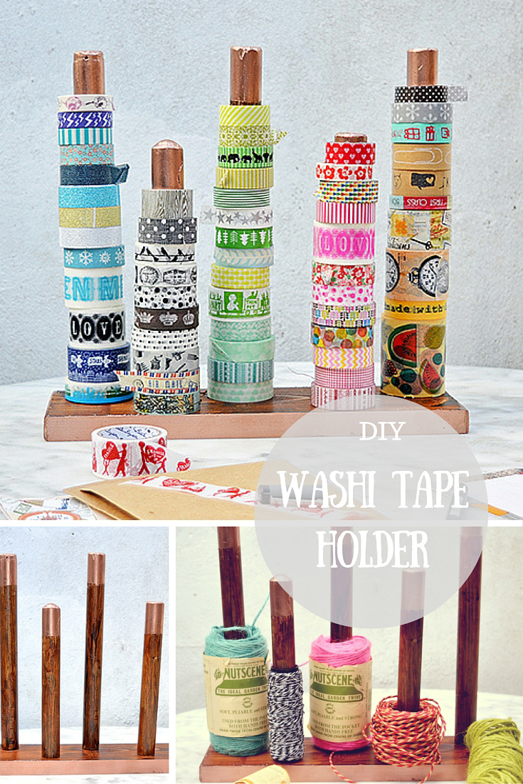 diy handy washi tape holder twine ribbon holder pillar box blue. Black Bedroom Furniture Sets. Home Design Ideas