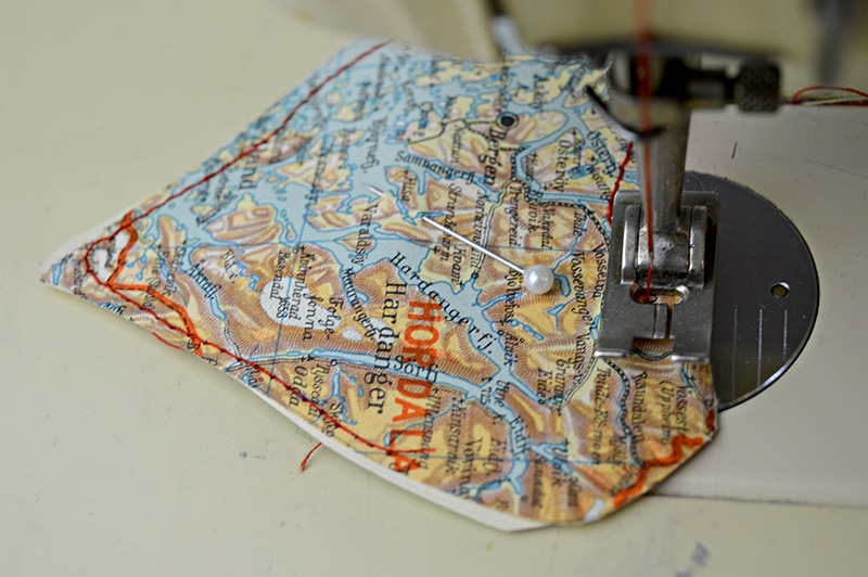 sewing heart on machine