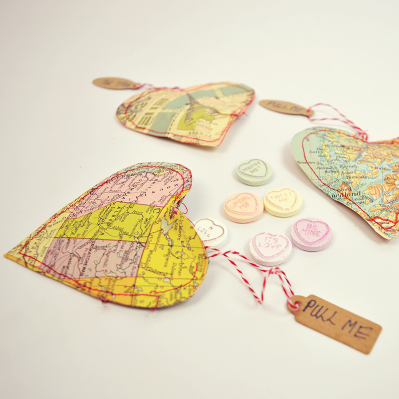 Valentine Map Hearts Treat Bags