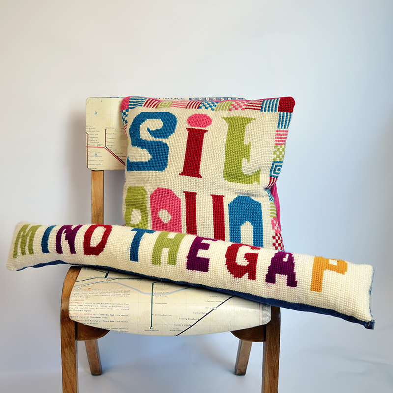 Pillarboxblue cross stitch cushions