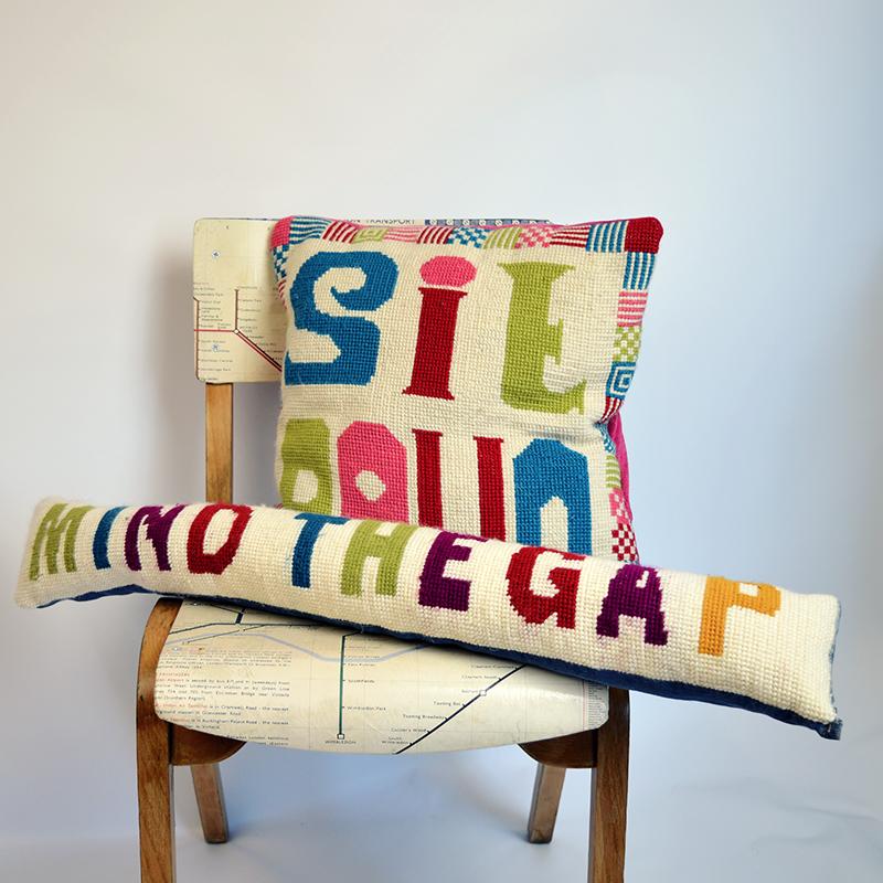 Pillarboxblue cross stitch cushions