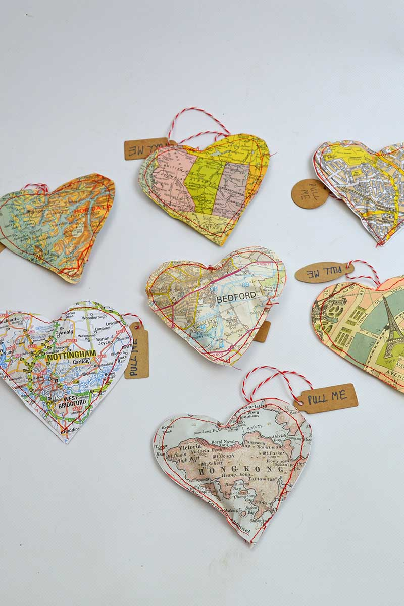all map heart treat bags