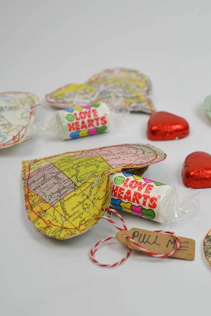 open map heart treat bags s
