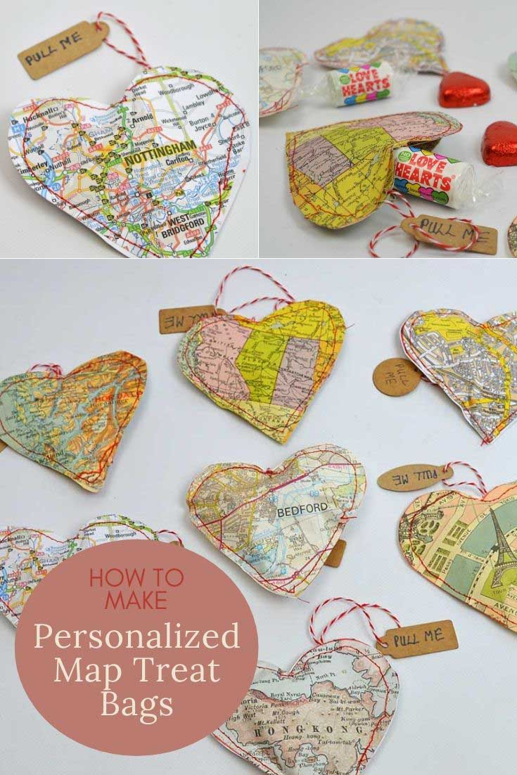 upcycled map hearts