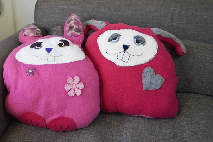 Upcycled Sweater Bunny Pillows /Cushion