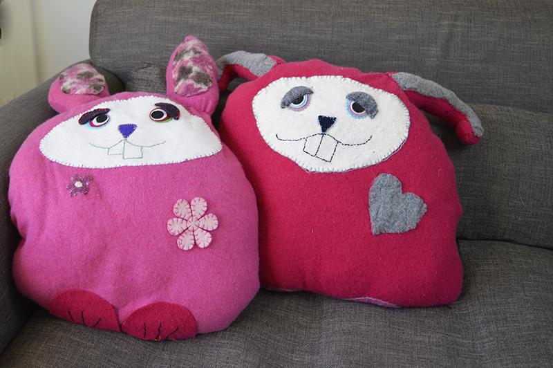 Upcycled sweater bunny cushions - Pillarboxblue.com