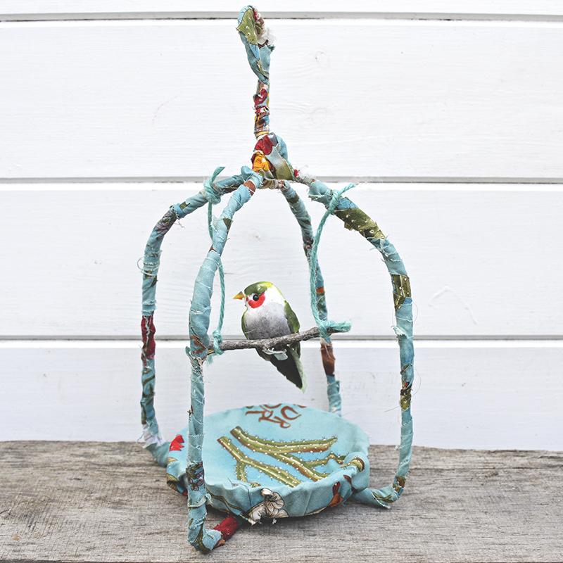 DIY Fabric Scraps Birdcage by Pillar Box Blue