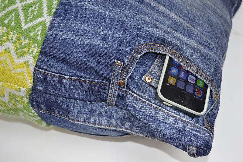 Upcycled denim iPhone pocket pillow