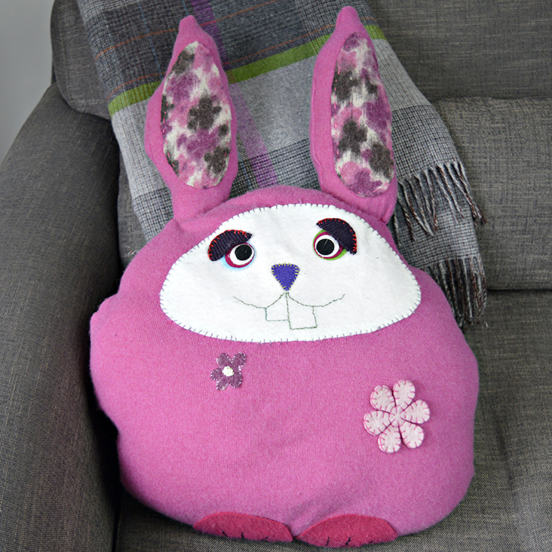 Upcycled Sweater Bunny Pillows Cushion - Pillarboxblue.com